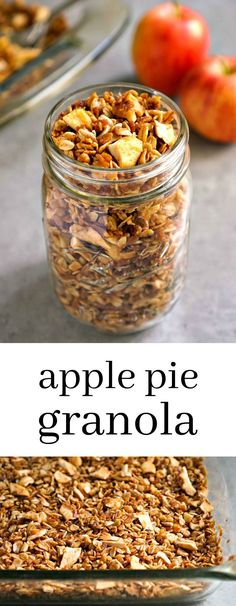 Apple Pie Granola is such a delicious, healthy breakfast or snack recipe. You won't be able to stop eating it! Gluten-free, vegan via @realfoodrecipes