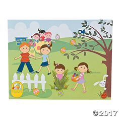 Make-An-Easter Egg Hunt Sticker Scenes - OrientalTrading.com