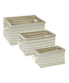 Look what I found on #zulily! Gray & Beige Crosshatch Rectangular Rope Basket Set #zulilyfinds
