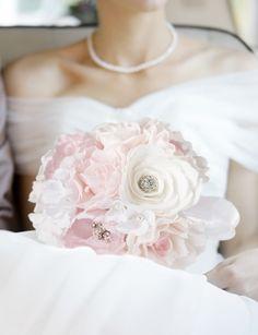 Romance inspired this vintage blush pink wedding bouquet.