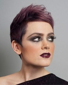 Short Purple Shaved Haircut Punk Hairstyles Gallery Pictures
