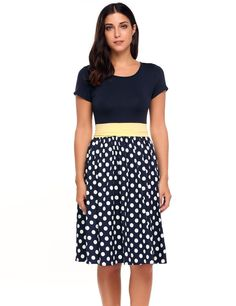 Ruched Waist Polka Dots Fit and Flare Dress