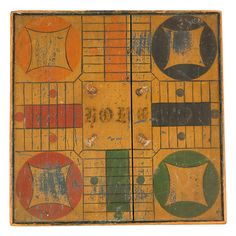 19th cent. reversible five color parcheesi gameboard