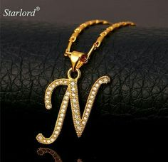18c63abd356b Initial N Letter Pendants   Necklaces Women Men Personalized Gift Alphabet  Jewelry Gold Color Necklace