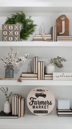 Shelf decor with a farmhouse feel.