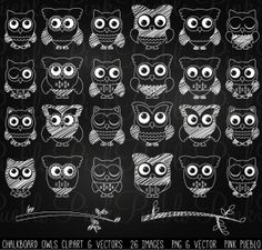 Chalkboard Owl Clip Art and Vectors | This adorable clipart set comes with 26 PNG files with transparent backgrounds and 1 Adobe Illustrator vector file. Each image is 300 dpi and approximately 10 inches at it's widest point.