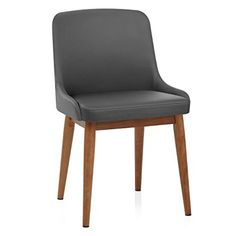 Jersey Chair Walnut & Grey Faux Leather: Amazon.co.uk: Kitchen & Home