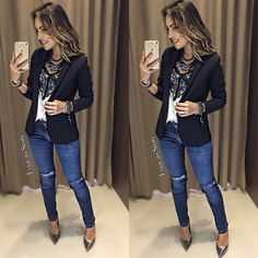 São tantas novidades meninas!! ❤️  Blusa Tay | Calça Jeans Paula | Blazer Simone Tecido: Satin  Detalhe de Renda  Alça Regulavel    Medidas:  P-  84cm de BUsto, 54cm de Comprimento.  M- 86cm de Busto, 55cm de Comprimento.  G- 90cm de Busto, 56cm de Comprimento. Beautiful Outfits, Cool Outfits, Fashion Outfits, Womens Fashion, Business Casual Outfits, Professional Outfits, Look Office, Looks Jeans, Look Blazer