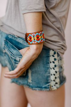 Ribbon Embroidered Mexicali Boho Leather Cuff