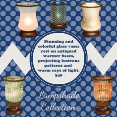 The Lampshade collection of glass Warmers by Scentsy is gorgeous! I use them all over my house as accent lighting and the fact that they warm my favorite scents is my little secret. www.karenburnett.scentsy.us