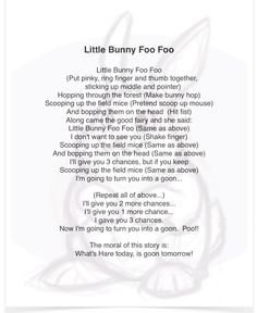 Songs with hand motions were always a hit!  My all-time favorite?  How could it be anything but...Little Bunny Foo Foo! Kindergarten Songs, Preschool Music, Preschool Learning, Kids Music, Music Class, Preschool Worksheets, Preschool Ideas, Teaching Ideas, Camp Songs