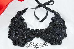 #soutache #necklace #jewelry #handmade #black #statement #design #AMDesign