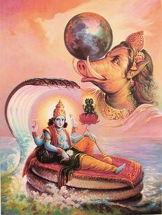 Varaha Avathar Vishnu's next incarnation was in the form of a boar. It is called Varaha Avatharam The mythological story behind this avat. Shiva Art, Shiva Shakti, Krishna Art, Hindu Art, Hare Krishna, Lord Vishnu, Lord Shiva, Indian Gods, Indian Art