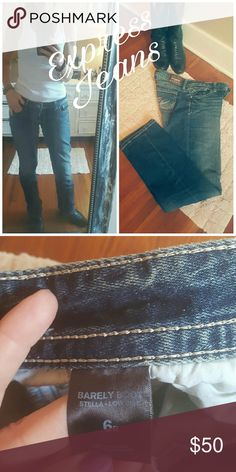 EXPRESS distressed JEANS Express jeans boot cut style, worn once, too big for me. 6 reg Express Jeans