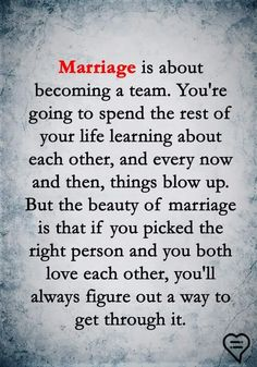 Why wait until marriage? Why not become a team from the start? Marriage shouldn't change the love shared. Through thick and thin from the start. Marriage Relationship, Happy Marriage, Love And Marriage, Strong Marriage Quotes, Relationships, Marriage Advice Quotes, Marriage Goals, Great Quotes, Quotes To Live By
