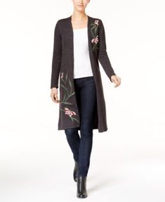 Style & Co Embroidered Duster Cardigan, Created for Macy's