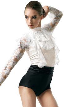 Lace Ruffle Long Sleeve Dance Leotard | Weissman®