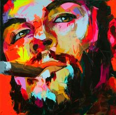 Stree Art Pop Art Oil painting on canvas hight Quality Hand-painted Painting Man with cigar L'art Du Portrait, Abstract Portrait, Abstract Canvas Art, Murciano Art, Che Guevara, Don Corleone, Tableau Pop Art, Images D'art, Art Et Illustration