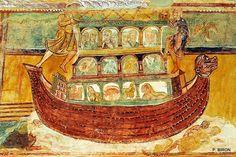 Voûte peinte de la nef de l'église de Saint-Savin-sur-Gartempe (Vienne, Poitou-Charentes), début du XIIe siècle : détail de l'Arche de Noé