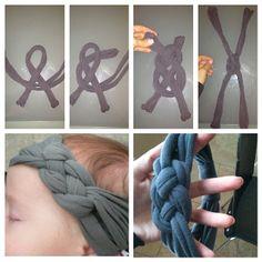 "Something I learned how to make today:) "" tee-shirt headband!!"