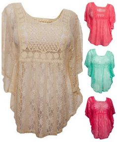 Sheer Crochet top. Great way to flatter your stomach. Still look great