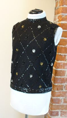Vintage Marchessa Beaded  Sweater Shell Size 40 by TheOldBagOnline on Etsy