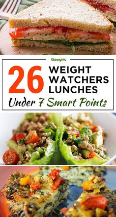 With these Weight Watchers Lunches under 7 Smart Points, you'll have healthy del.With these Weight Watchers Lunches under 7 Smart Points, you'll have healthy delicious Weight Watcher friendly meals for a whole month! Weight Watchers Lunches, Plats Weight Watchers, Weight Watchers Meal Plans, Weight Watchers Diet, Weight Watcher Smart Point Meals, Weight Watcher Breakfast, Weight Watchers Points List, Weight Watchers Program, Weight Watcher Dinners