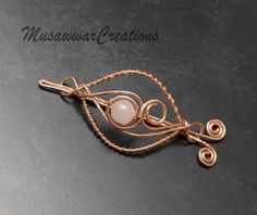 Rose quartz Copper hair bun slide copper hair by MusawwarCreations