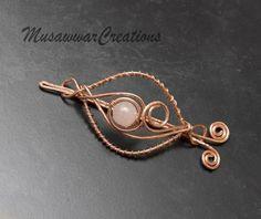 Rose quartz Copper hair bun slide copper hair by MusawwarCreations
