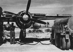 Northrop P-61 Black Widow of the 418th Night Fighter Squadron Being Refueled On Kadena AB.