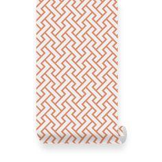 Retro Geometric Pattern Orange Removable Wallpaper - Peel & Stick, Repositionable Fabric