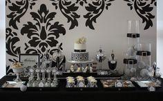 El estampado blanco y  negro para fondo de mesa dulce.