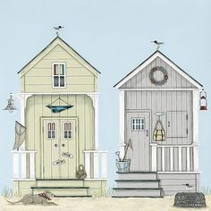 Buy Sally Swannell - Beach Huts Print on Canvas, 30 x from our Pictures range at John Lewis & Partners. Beach Illustration, House Illustration, Illustrations, Cake Illustration, Beach Huts Art, Beach Art, Hut House, Beach Cabana, House Drawing