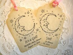 Baby Shower Tag / Party Favor Tag / Baby Shower Gift Tag / Personalized Tag - Thank You set of 16 - Paper Party Supplies / It's a Girl