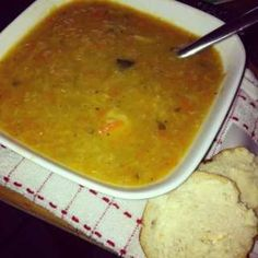 Scottish lentil soup - A great winter warmer, always a favourite with everyone! Makes a big pot enough for all the family, - Lentil And Bacon Soup, Best Lentil Soup Recipe, Lentil Recipes, Vegetarian Recipes, Cooking Recipes, Easy Lentil Soup, Cooking Rice, Onion Soup, Tomato Soup