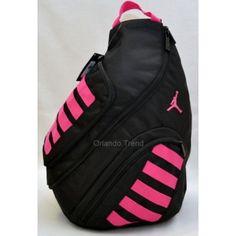 Nike Air Jordan Black And Pink Sling Backpack