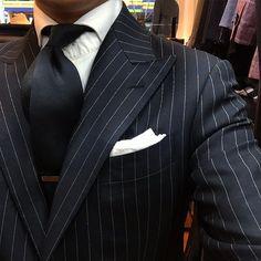 'SCABAL' SUPER 130's Black Stripe Suit