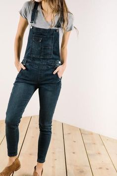 The Washed Denim Overalls in Dark | Piper & Scoot