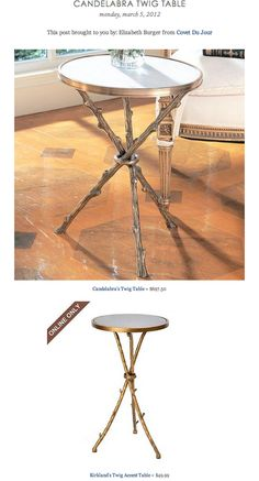 CANDELABRA TWIG TABLE vs KIRKLAND'S TWIG ACCENT TABLE