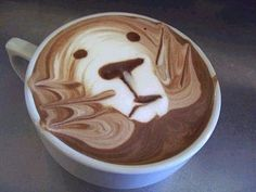 Or one cup 'o' the bear-lion breed | The 40 Most Amazing Examples Of Coffee Foam Art