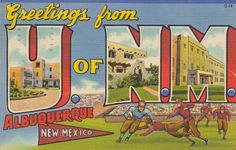 Greetings from The University of New Mexico - Albuquerque, New Mexico by The Pie Shops Collection, via Flickr