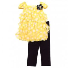 Little Girl Chiffon Ruffle Top and Legging