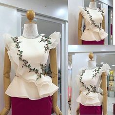 21 trendy dress designer traditional- You can examine all tattoo models and print them out. African Fashion Dresses, African Attire, African Dress, Hijab Fashion, Fashion Outfits, Myanmar Traditional Dress, Traditional Dresses, Blouse Styles, Blouse Designs