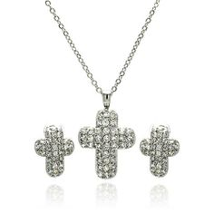 Nickel Free Brass Pendant & Earring Sets Cubic Zirconia Covered Rhodium Plated Brass Cross Set Pendant Measurement: 28mm X 18.2mm Earring Measurement: 11.4mm X 14.6mm Double Accent. $47.99. Save 65%! Brass Pendant, Pendant Earrings, Necklace Set, Stud Earrings, Earring Set, Jewelry Sets, Diamond, Silver, Free