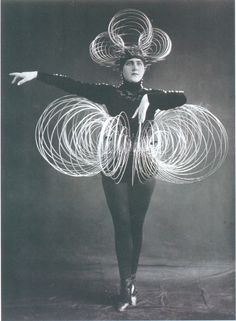 Oskar Schlemmer, Spiral Costume. You can imagine the sounds this piece would create when the body moves. The structure reminds me of a slinky which has a domino affect when activated.