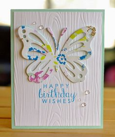 Card by Leigh Penner. Reverse Confetti stamp set: Label Me (sentiment). Birthday card.