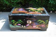 Vintage 1950s Japanese Pearl Abalone Inlay Musical Jewelry Box *Still Works*