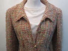 Chanel Tweed Beige 2004 Autumn Collection Jacket Size 38