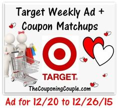 Here is the NEW Target Ad for 12-20 to 12-26-15 with Coupon Matchups. Click the link below to get all of the details ► http://www.thecouponingcouple.com/target-ad-for-12-20-to-12-26-15/  #Coupons #Couponing #CouponCommunity  Visit us at http://www.thecouponingcouple.com for more great posts!