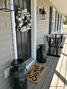 Front Porch Spring Cleaning Tips to help get rid of the dirt and grime left from a long cold winter. Let's get ready to enjoy Spring with these easy tips from Walking on Sunshine Recipes. Porch Decorating, Decorating Your Home, Interior Decorating, Decorating Ideas, Decor Ideas, Exterior Light Fixtures, Exterior Lighting, Porch Flooring, Colorful Furniture